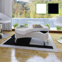 vidaXL Coffee Table High Gloss Shape-Adjustable Storage Furniture Black/White