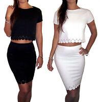 Womens Ladies Black White Summer Co Ord 2 Piece Set Skirt Crop Top Dress 8 10 12