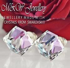 925 Silver Stud Earrings CUBE 8mm Vitrail Light - Crystals From Swarovski®