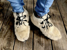 1950's Canadian Mukluk Caribou Fur Indian Moccasin Chukka Ankle Boots