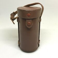"Vintage Nikon Nikkor Nippon Kogaku Hard Brown Leather Lens Case Japan 5""L 2.5""D"