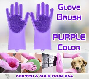Magic Gloves Dish Washing Silicone Rubber Scrubber Cleaning Purple Color 2 in 1