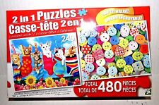 """480 piece 2 in 1 Puzzle:Hanging Out """"Kittens"""" & Sewing Button Brand New Sealed"""