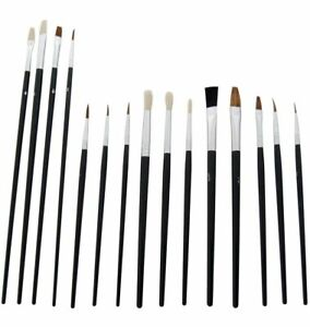 15 ARTISTS PAINT BRUSHES POINTED FLAT DETAIL BRISTLE ART MODEL POTTERY CRAFT SET