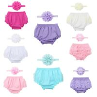 Infant Baby Girls Ruffled Bloomers+Headband Outfits Photo Props Set Costumes