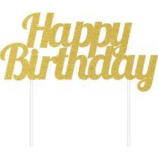 Happy Birthday Cake Topper Gold Glitter FreePost