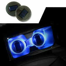 2X Blue Solar Cup Holder Bottom Pad LED Light Cover Trim Atmosphere Lamp