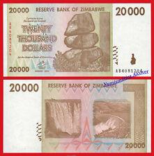 ZIMBABWE 20000 Dollars dolares 2008 Pick 73 SC / UNC