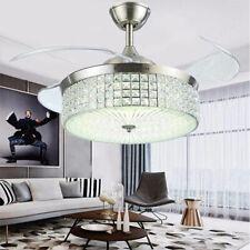 "Hndds Lighting 42"" Crystal Ceiling Fan Led Chandelier Lighting Invisible Fan"
