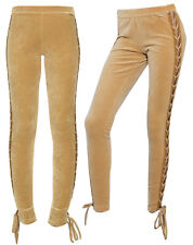 Puma x Rihanna Fenty Womens Velour Lacing Tight Leggings Tan 575742 03 X39B