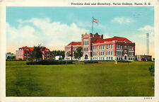 Linen Postcard SD C660 Voorhees Hall and Dormitory Huron College South Dakota