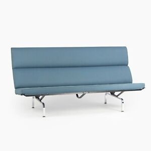 2006 Herman Miller by Ray and Charles Eames Sofa Compact Blue Fabric Upholstery