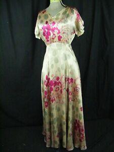 Antique 30s Grey Fuchsia Floral Silk Bias Dress-Bust 37/XS, AS-IS!