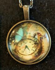 STEAMPUNK CLOCK Necklace NEW Domed Cabochon w/ chain (B) bronze tone Butterfly