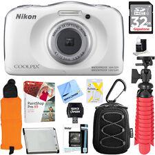 Nikon COOLPIX W100 13.2MP 1080P White Digital Camera+32GB Memory & Accessory Kit