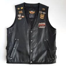Harley Davidson Motorcycle Bikers Vest S Embroidered Black Leather MDA Pins