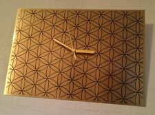 FLOWER of LIFE -Sacred Geometry, silent-Swoosh WALL CLOCK on Gold brushed metal