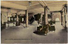 Lobby of Hotel Washington in Chambersburg PA Postcard