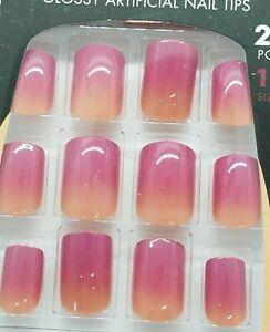 L.A. Colors Classy Nails 24 Glue Nails Short Square Tip- *Catwalk -Mauve Ombre