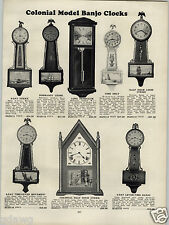 1930 PAPER AD Gilbert Colonial Model Banjo Clock Clocks Sessions Upright