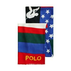 RL RALPH LAUREN POLO SPORT SUICIDE SKIER DOWNHILL USA WOOL SCARF BANNER LARGE