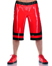 100% Latex Rubber Red Boxer Shorts Decorative black Loose Pants 0.4mm Size S-XXL