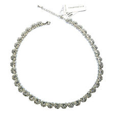 Charter Club Silver Tone Crystal Link Necklace Lucky Lady Horseshoe Alloy NWT