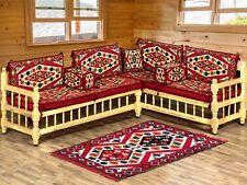 Arabo MAJLIS divano con panca in legno, Set divano ad angolo, GIARDINO DIVANO impostato/SHI _ FSWB 01