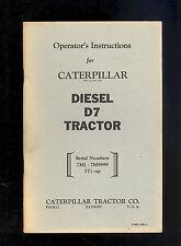 CATERPILLAR D7 TRACTOR OPERATOR'S MANUAL / SERIAL # 7M-7M9999 /3T1-UP / 10481-2