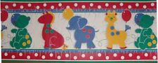 Nursery childs Wallpaper Border Giraffe Bear, Elephant, Horse Baloons Dots