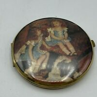 Vintage Victorian Double Twin Compact Hand Mirror. West Germany Girls And Dog