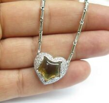 Chimento 18KT Citrine Diamond Heart Pendant Necklace White Gold 4.80Ct