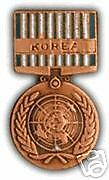 MILITARY MEDAL HAT PIN - UN SERVICE IN KOREA MEDAL