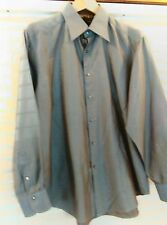 ROBERT GRAHAM MENS LARGE CASUAL SHIRT FLIP CUFF GRAY BAROQUE METALIC DESIGN NICE