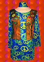 315✪ Peacezeichen Trompetenärmel Hippie Kleid Kostüm mit Fakedruck bunt Gr. M