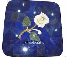 12'' Marble Coffee Table Top Lapis Lazuli Inlay Art Handmade Hallway Decor Art