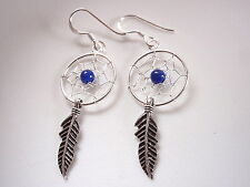 Blue Lapis Dream Catcher Sacred Feather Dangle Earrings 925 Sterling Silver