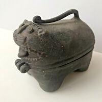 "Unique Antique Brass Cat Hinged Lidded Box Figure Art Sculpture Decor India 4"""