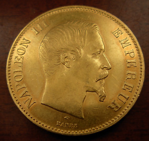 France 1855 A Gold 100 Francs AU Napoleon III