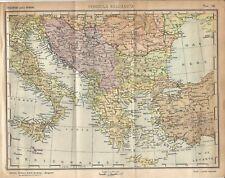 Carta geografica antica PENISOLA BALCANICA BALCANI GRECIA NEL 1940 Antique map