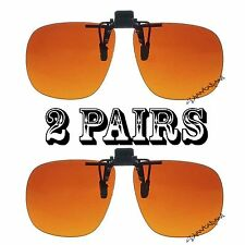 2 Blue Blocker Amber Square Lens Clip On Flip Up Driving Outdoor Sun Glasses