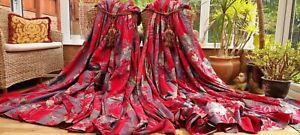 "HUGE PAIR  RED FLORAL MOIRE SILK LINED CURTAINS 86"" DROP BY 198"" WIDTH"
