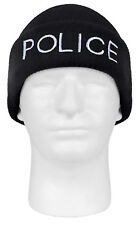 watch cap winter hat police embroidery black acrylic knit beanie rothco 5443