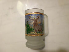 "Vintage Yellowstone National Park 1999 Elk Frosted Glass Tumbler Mug 6"" Tall"