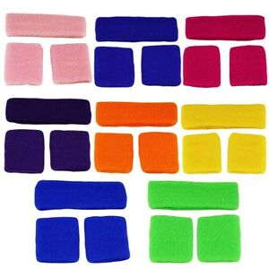 Sports Terry Towelling SET - 1 Head Sweatband 2 Wristbands in Various colours