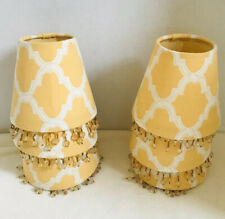 Yellow/Gold Fabric Beaded Small Clip-on Lamp Shades--6