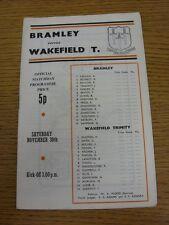 30/11/1974 liga de rugby programa: Bramley V Wakefield Trinity