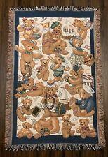 "Woven Tapestry Throw Blanket Teddy Bear Alphabet Theme 55"" x 36"""
