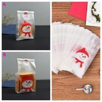 50Pcs Christmas Bag Cute Snowman Cellophane Cookie Fudge Candy Bags Xmas Gift