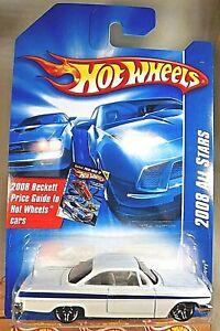 2008 Hot Wheels #76 All Stars '62 CHEVY White Variant w/Chrome Pr5 Spoke Wheels
